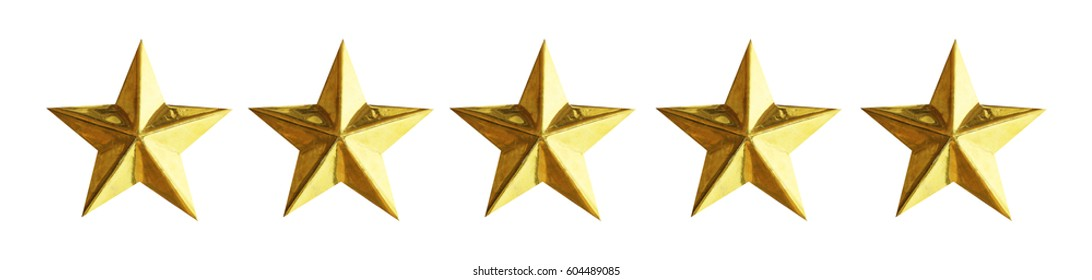 Golden five star review or rating isolated on white background with clipping path.