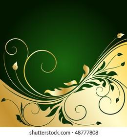 golden floral background, raster illustration