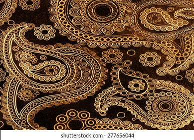 golden floral fabric