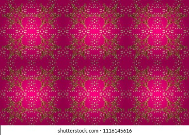 Golden floral seamless pattern. Gold floral ornament in baroque style. Damask background. Golden element on a magenta, brown and yellow colors.