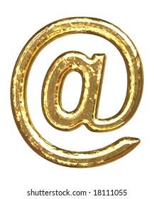 Golden font. 'At' sign.
