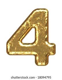 Golden font. Number four.