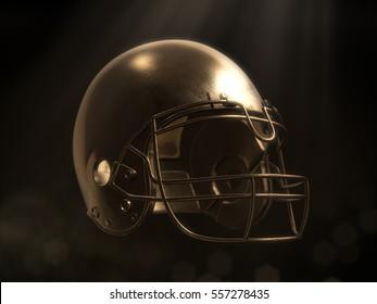 golden football helmet with dark background.