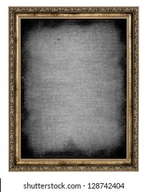 golden frame with empty canvas isolated on white background