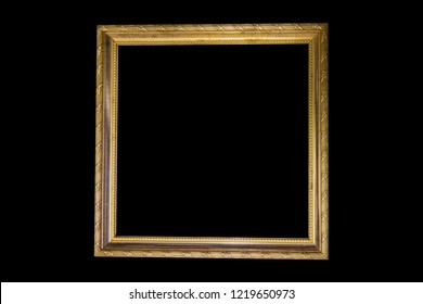 Golden frame isolated on black background for design and decoration.