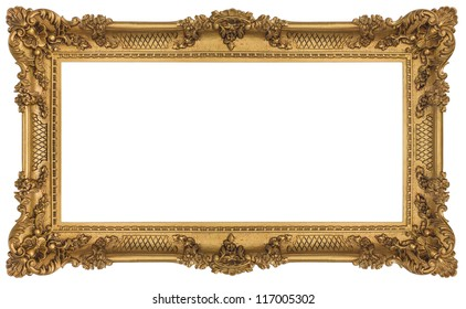 Golden Frame isolated on white background. Clipping path included.