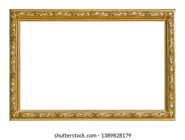 Golden frame for paintings, mirrors or photo isolated on white background. Design element with clipping path - Shutterstock ID 1389828179