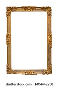 Golden frame for a picture isolated on a white background