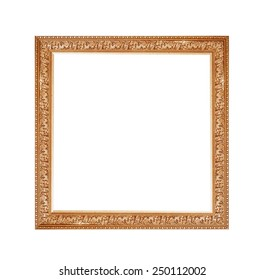 golden frame for a picture on a isolated white background.