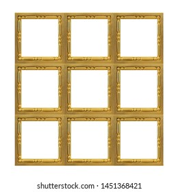 Golden frame (polyptych) for paintings, mirrors or photos isolated on white background