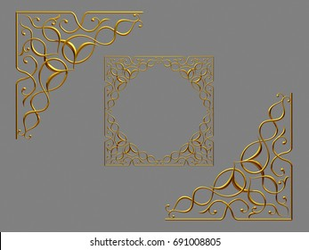 "golden frame segment ""Abraham"" with oriental ornaments, 3d Illustration"