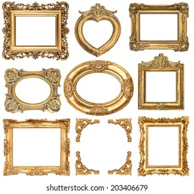 golden frames isolated on white background. baroque style antique objects. vintage background for your photo, picture, image
