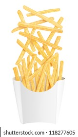Golden french fries falling into white packaging, on white background