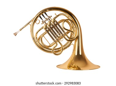 Golden french horn in hard light isolated on white background