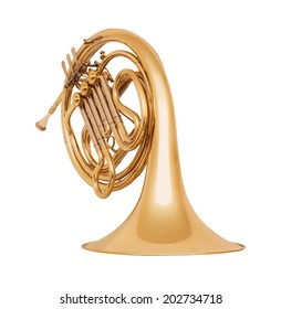 Golden french horn in soft light isolated on white background