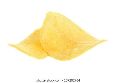 Golden fresh chips, isolated on white, macro