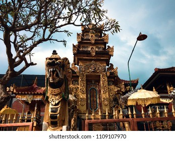Golden Front Gate Style Of Munduk Bendesa Mas Balinese Hindu Temple At Patemon Village, North Bali, Indonesia