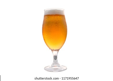 Golden, frosty and detailed beer glass with white background