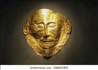 The golden funeral mask of Agamemnon Athens Greece 01 04 2018