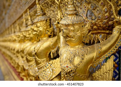 Golden Garuda holding Naga in Wat Prakaew, Royal Grand Palace, Bangkok, Thailand