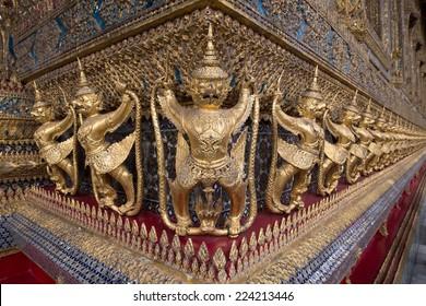 The golden garuda statues at Grand Palace(called in Thai name Wat Phra Kaew) on 2014 in Bangkok, Thailand.