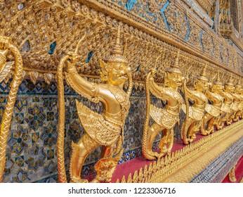 Golden Garuda in wat phrakaew temple Bangkok Thailand.Wat Phrakeaw Temple is the main Temple of bangkok Capital of Thailand