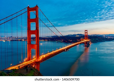 golden gate in the bay of San Francisco in California during sunset