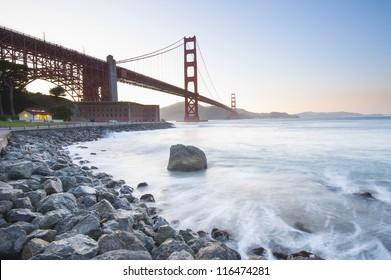 Golden Gate Bride at sunset. San Francisco, California, USA