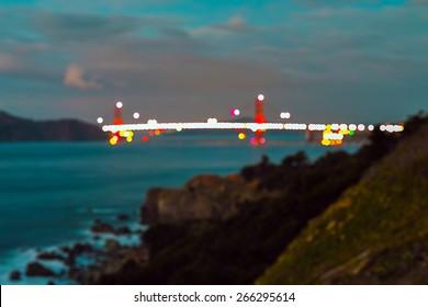 Golden Gate Bridge abstract bokeh background.