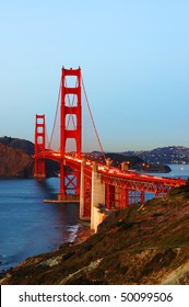Golden Gate Bridge after sunset; San Francisco, California