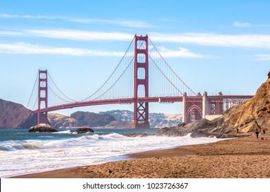 Golden Gate Bridge from Baker beach, San Francisco, California