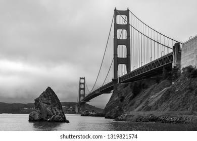 The Golden gate bridge black and white image