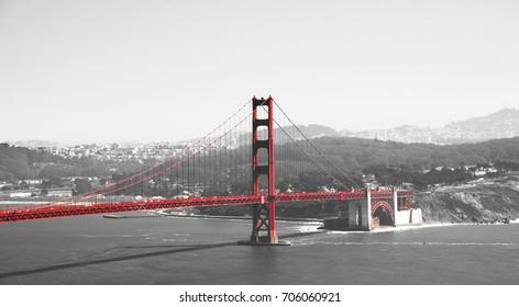 Golden gate bridge in black white and red in San Francisco bay, San Francisco, California, USA