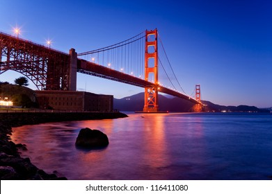Golden gate bridge from bottom view in dusk time, San francisco, California, USA, america