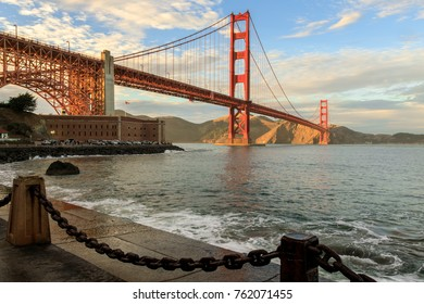 Golden Gate Bridge and Chain Link Fence. Fort Point, San Francisco, California, USA.