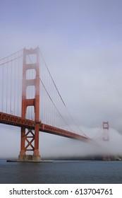 The Golden Gate Bridge covered in fog.