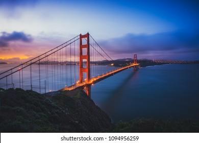 The Golden Gate Bridge at Dawn, San Francisco, California, USA