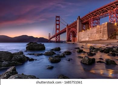 Golden Gate Bridge during sunset new San Fransisco, USA