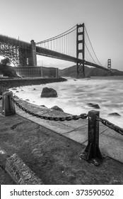 Golden Gate Bridge during sunset at Fort Point, San Francisco