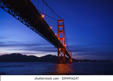 The Golden Gate Bridge at Dusk from Fort Point, San Francisco, California, USA