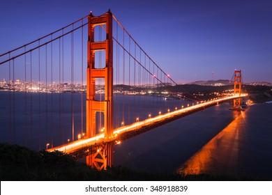 Golden Gate Bridge at dusk, San Francisco, California USA