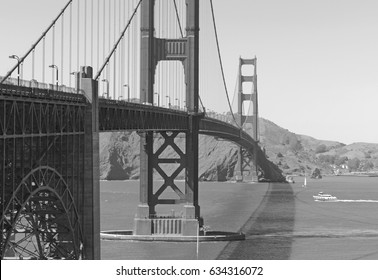 The Golden Gate Bridge, an engineering marvel of construction and architectural landmark which sees both automobile and pedestrian traffic in San Francisco, California, USA