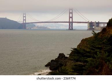 Golden Gate Bridge in a fog