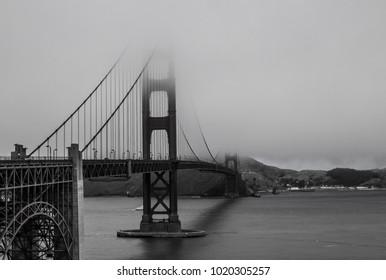 golden gate bridge in fog B/W