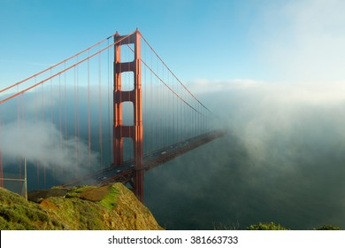 Golden gate bridge in fog, San Franciso, California.