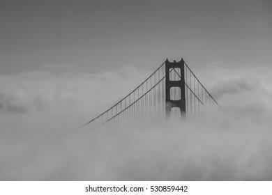 Golden Gate Bridge and fog, San Francisco, California, USA