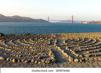 Golden Gate Bridge with Labyrinth rock from Land End