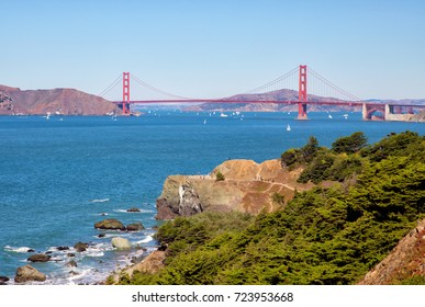 Golden gate bridge from Lands end. San Fransisco, California