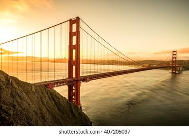 Golden Gate Bridge in the morning famous landmark in San Francisco California USA