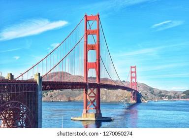 Golden gate bridge on blue sky at San Francisco,America.